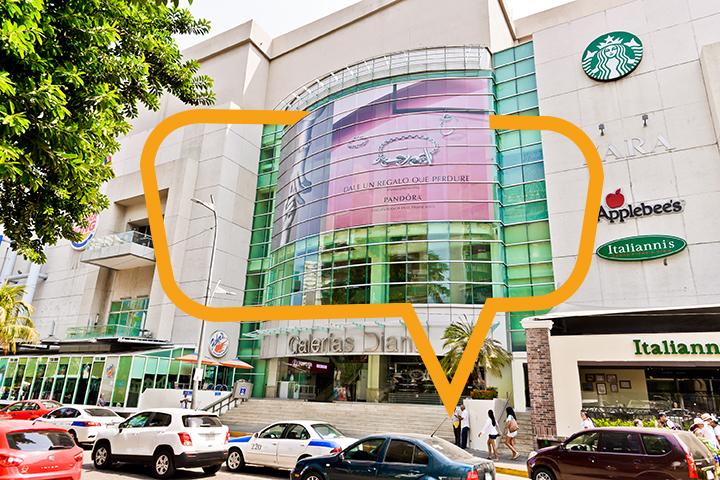 Publicidad en Galerías Diana Acapulco, Fachada